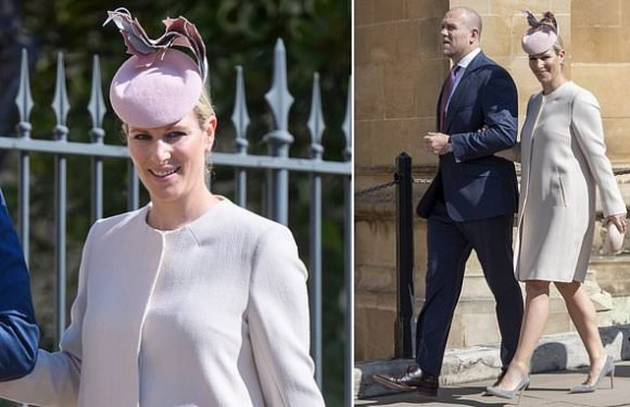 Zara Tindall looks chic in a nude wool coat at Easter service