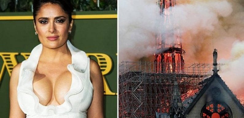 Salma Hayek's billionaire husband pledges £86MILLION to rebuild fire ravaged Notre Dame