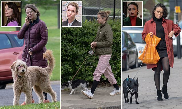 As the country is gripped by Line Of Duty, show's stars seen with dogs