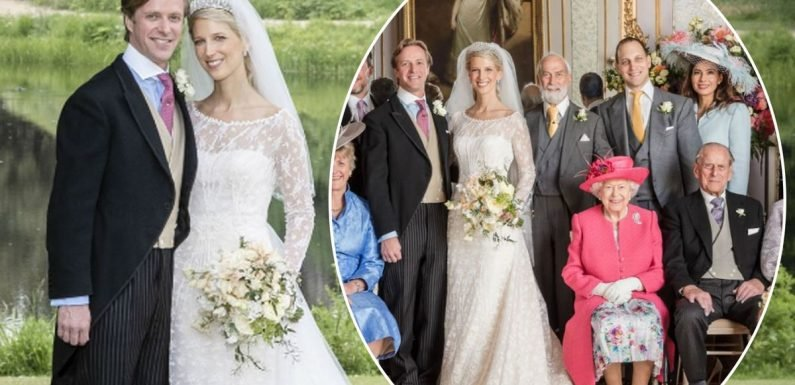 Lady Gabriella Windsor and new husband Thomas Kingston release stunning official wedding photographs featuring the Queen and Prince Philip