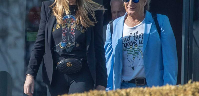 Rod Stewart, 74, and wife Penny Lancaster ,48, grab some rock and stroll on Southend seafront