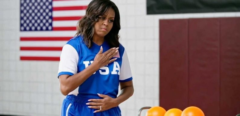Michelle Obama hypes up dodgeball game with Harry Styles, James Corden