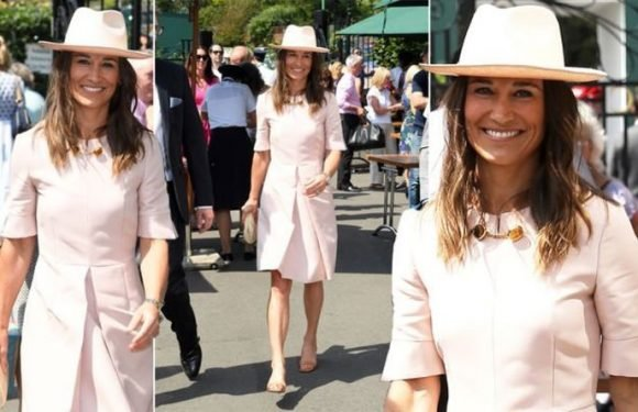 Pippa Middleton keeps it casual in pink dress and bare legs at Wimbledon 2019