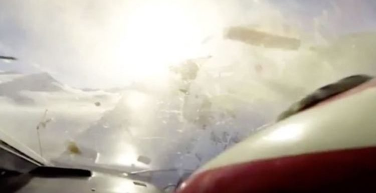 Unnerving video shows moment deadly crash takes place mid-air between plane and helicopter