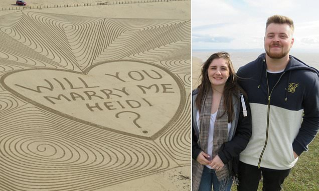 Girlfriend stunned by massive 250ft marriage proposal etched in sand
