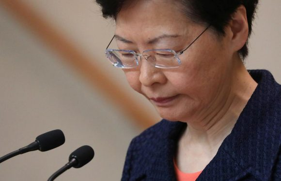 Hong Kong leader says she hopes non-violent protest puts city on road to peace