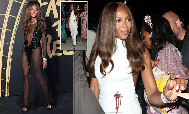 Naomi Campbell wears a bullet hole print dress at Fashion For Relief