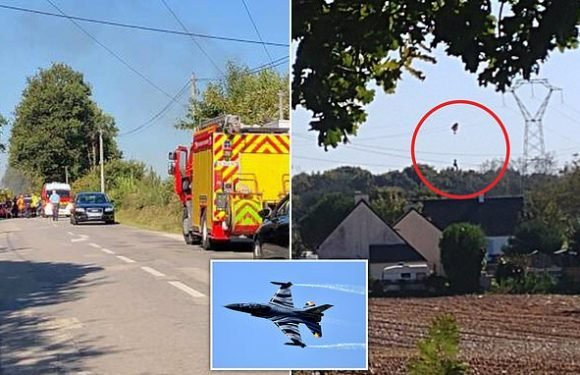 F-16 fighter jet crashes with pilot caught on electricity line