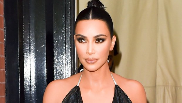 Kim Kardashian Sports Sheer Halter Top With Nothing Beneath & Tight Leather Pants For 'Tonight Show'