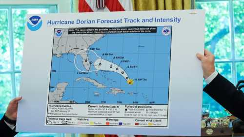 Trump shows apparently altered map of Hurricane Dorian trajectory