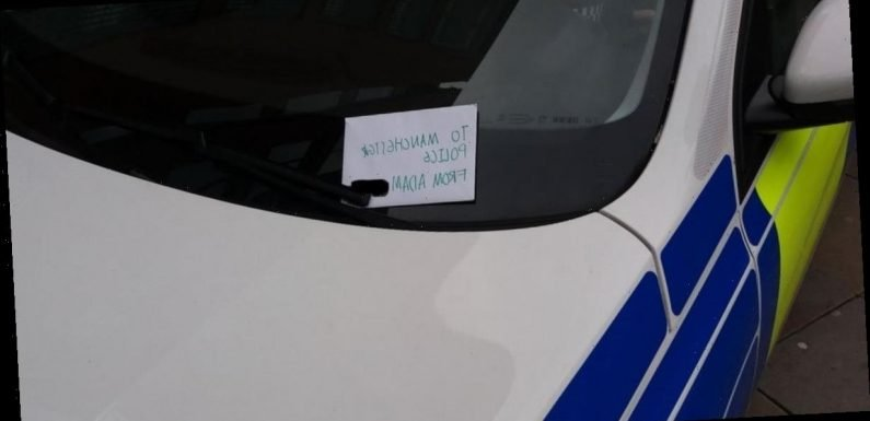 Little boy leaves thank you note on windscreen of police car in Manchester