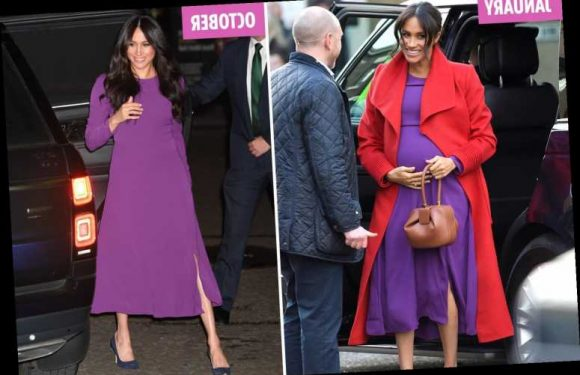 Meghan Markle recycles £29 purple dress she wore when pregnant with Archie as she attends the One Young World summit – The Sun