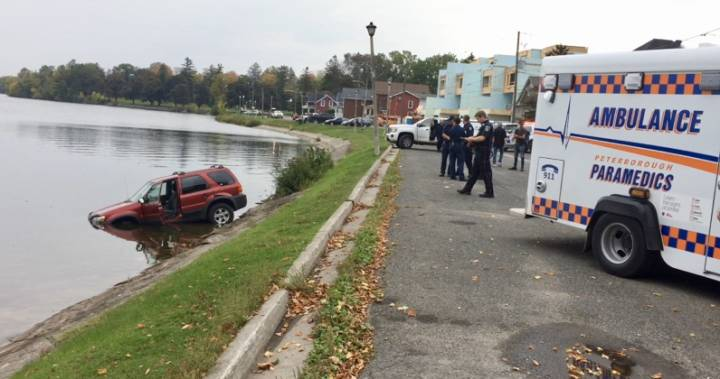Woman taken to hospital after SUV ends up in Little Lake in Peterborough