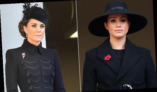 Meghan Markle and Kate Middleton look sombre on Remembrance Sunday