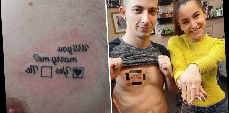 Man proposes to girlfriend with 'will you marry me?' chest tattoo – and has her 'yes' answer inked on too – The Sun
