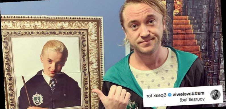 "Tom Felton Posed Next to an Old Draco Malfoy Poster, Only to Realize That ""Aging's a B*tch"""