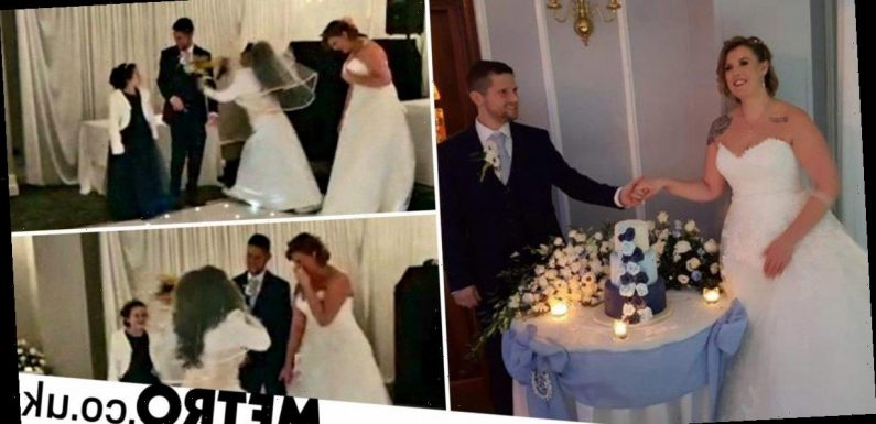 Bride thinks groom's ex has crashed big day when woman turns up in wedding dress