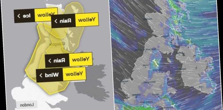 UK weather forecast – Blustery 55mph gales and SNOW to pelt Britain while 4in of icy rain brings travel chaos