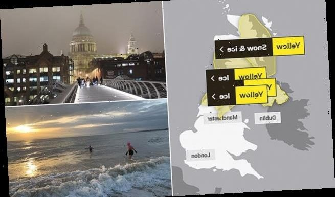 Met Office issues yellow weather warning for ice and snow