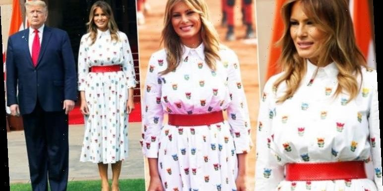 Melania Trump shows off tiny waist in £2,500 outfit as India trip continues with Donald