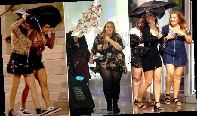 Revellers battle heavy rain and gales during night out in Leeds