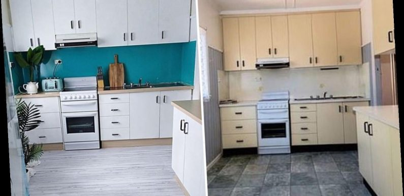 Thrifty mum revamps her dated kitchen for just £30 using bargain £1.50 vinyl and a lick of paint