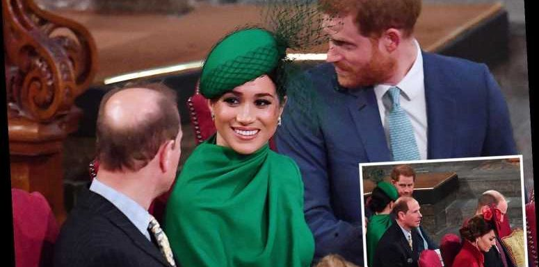 Prince Edward praised for friendly chat with Meghan Markle and Prince Harry as Kate and William took their seats