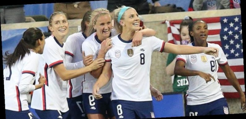 Julie Ertz's glorious 87th-minute header saved the USWNT from its first scoreless showing in 3 years, and husband Zach Ertz was on hand to celebrate the game winner
