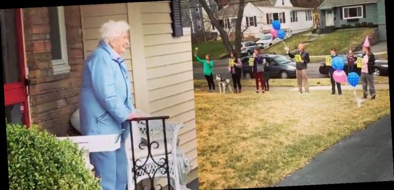 A 95-year-old had to cancel her birthday party because of the coronavirus, so her family sang to her while social distancing
