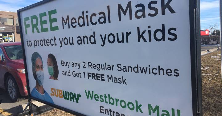 Subway apologizes for Calgary sign offering free face masks with sandwich purchase