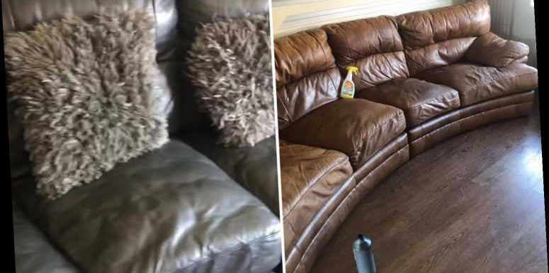 Woman transforms tatty charity shop couch into sofa of her dreams using £10 Amazon product