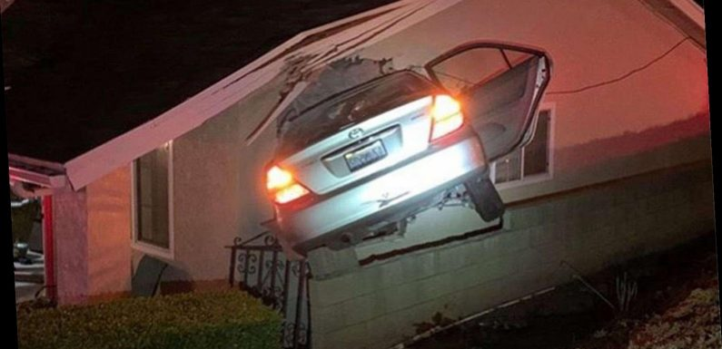 Stolen Car Goes Airborne and Crashes into the Side of California Home After Suspects Take 'Joy Ride'