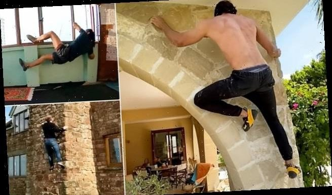Daredevils scale DIY obstacle courses in new 'home bouldering' craze