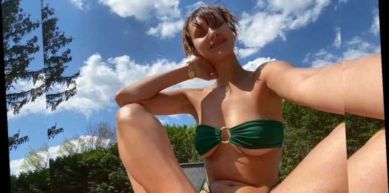 Bella Hadid Soaks Up the Sun (and Flashes Some Major Underboob) in a Strapless Green Bikini