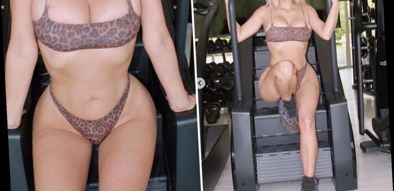 Kim Kardashian works out in just a leopard-print bra and panties in sexy new snaps