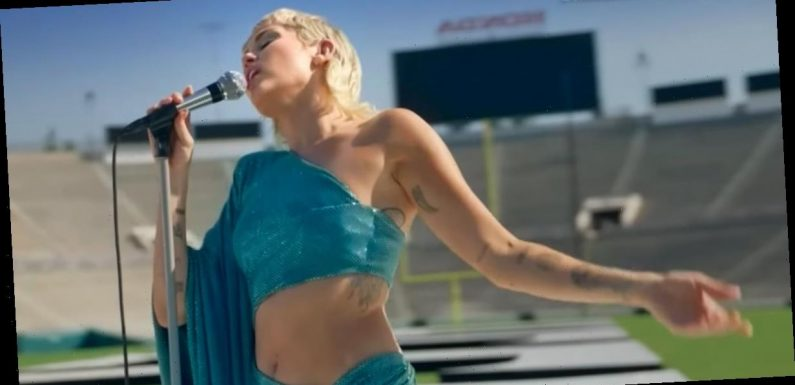 Miley Cyrus's Blue Cutout Dress Pays Homage to The Beatles in a Pretty Unpredictable Way
