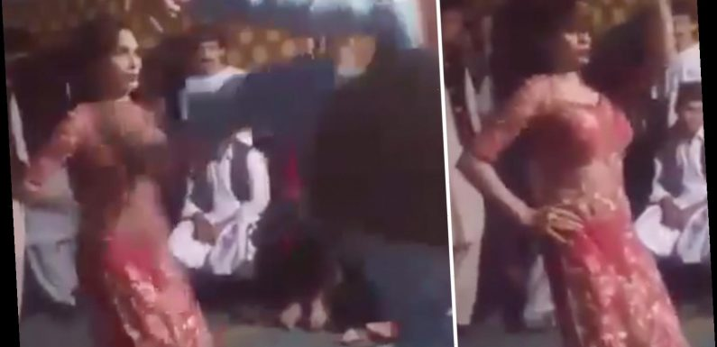 Horrifying moment female dancer is fly-kicked in the chest by thug who claimed her moves were too provocative