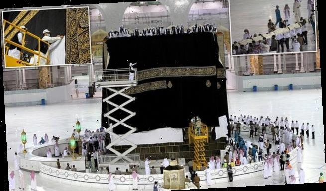 £4.5million silk cloth covering Islam's holy Kaaba in Mecca replaced