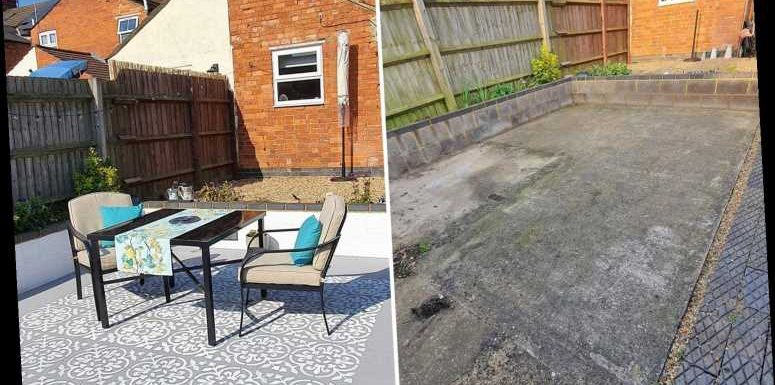 Woman turns her grotty concrete yard into a stunning space for less than £50 and it's all thanks to a stencil