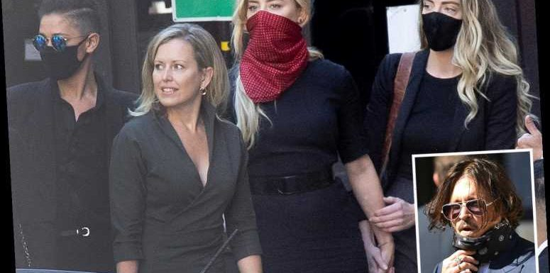 Amber Heard arrives hand-in-hand with sister & lawyer to face Johnny Depp in court