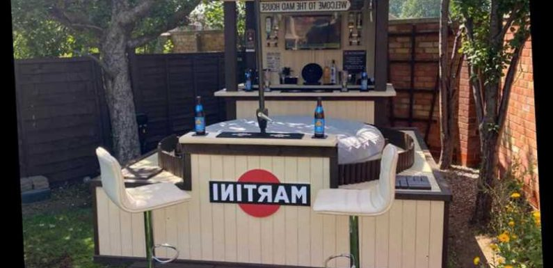 Dad builds amazing swim-up bar in his back garden with a flat screen TV for the football and cocktails on tap