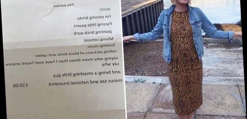 Mum reveals 'pay packet' and adorable note her six-year-old received from her builders after he helped them do their job