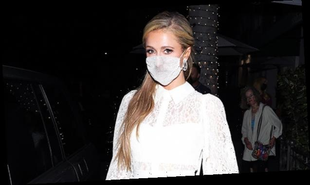Paris Hilton Trolled For Wearing A Diamond, Mesh Face Covering On Date Night With BF Carter Reum — See Pic