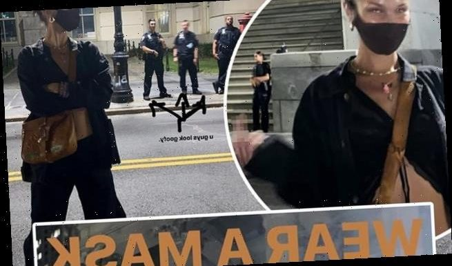 Bella Hadid gives the middle finger to NYPD officers not wearing masks