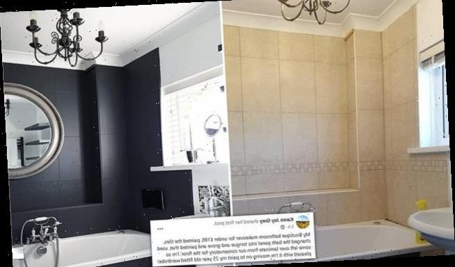 Thrifty mother gives 'dated' bathroom a 'boutique' makeover for £100