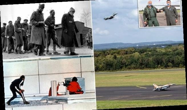 Israeli and German fighter jets flyover Dachau death camp