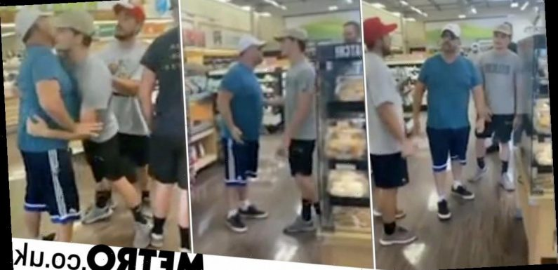 Anti-mask ranter carried out of shop by son after throwing tantrum