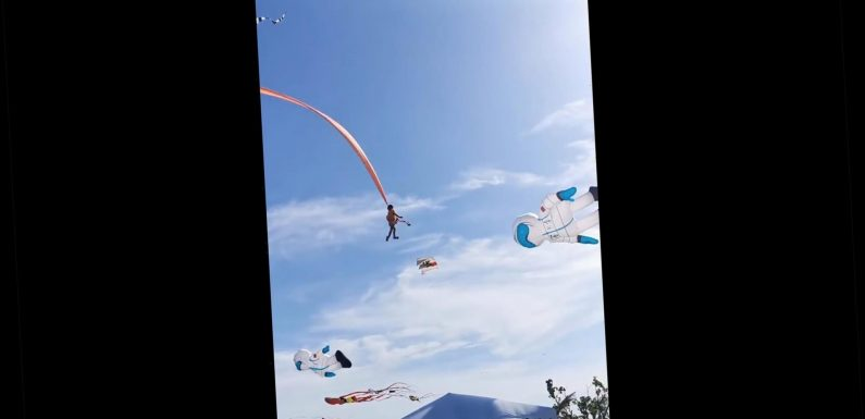 3-year-old girl lifted to the sky after getting caught on kite, video shows