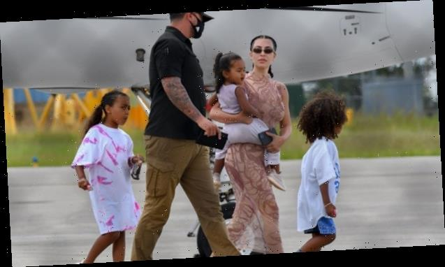 Kim Kardashian & Kanye West Arrive In Miami With 4 Kids After Tense Wyoming Fight & Family Getaway — Pics