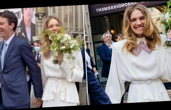 Très Chic! Natalia Vodianova Is the Picture of Elegance in This Flowy Collared Wedding Dress